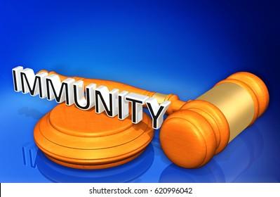 Immunity Legal Gavel Concept 3D Illustration
