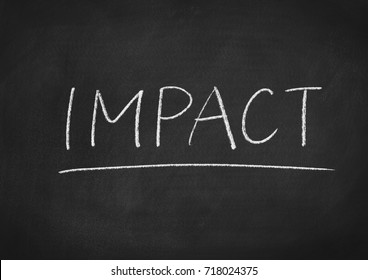 impact concept word on a blackboard background