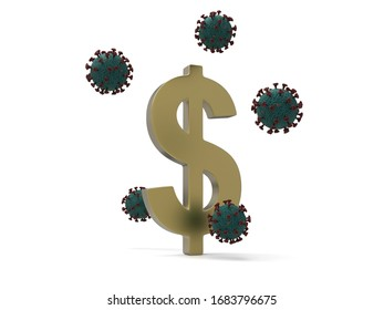 The Impact of the virus on the economy 3D Render