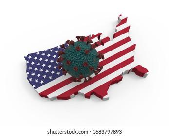 Die Auswirkungen des Virus auf den 3D-Render der Vereinigten Staaten