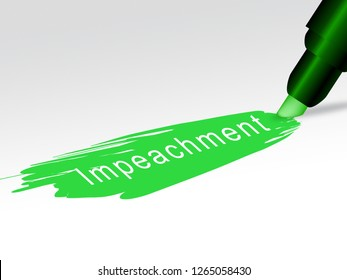 Impeachment Writing To Impeach Corrupt President Or Politician. Demonstration Against Government For Legal Removal