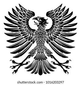 An imperial heraldic style eagle bird emblem