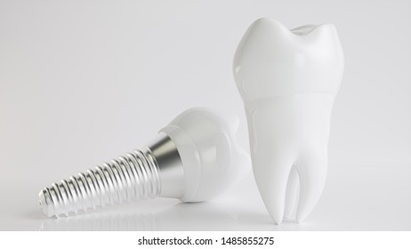 An implant compared to healthy teeth -- 3d rendering
