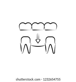 implant, prosthesis icon. Element of dantist for mobile concept and web apps illustration. Hand drawn icon for website design and development, app development
