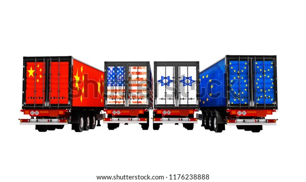 Import Export Goods By Containers On Stock Illustration