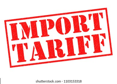 IMPORT TARIFF red Rubber Stamp over a white background.