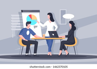 Important business discussion illustration. Smart colleagues participating in intense brainstorming process. Woman making biz presentation of new start-up flat style design. Meeting concept