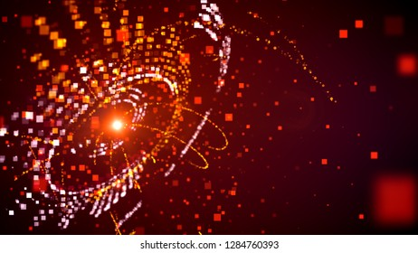 Imposing 3d illustration of a sphere with many shining orange circles inside with particle waves spinning around in the dark purple background. It looks cheerful and optimistic