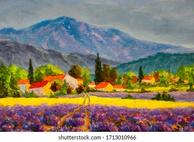 Impressionism oil painting Small houses in lavender fields at sunrise Provence, France artwork. Beautiful summer landscape. Famous travel destination illustration