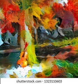 Impressionism. Painting of violin in autumn forest. 3D rendering