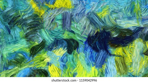 Impressionism wall art print. Vincent Van Gogh style oil painting. Swirl splashes. Surrealism artwork. Abstract artistic background. Real brush strokes on canvas.