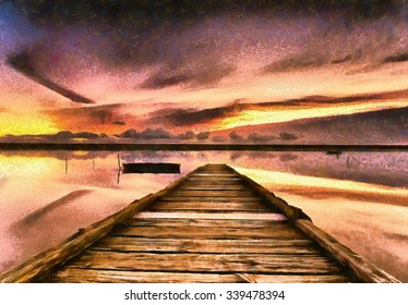 An impressionist oil painting of sunset on the Fleet Lagoon in Dorset