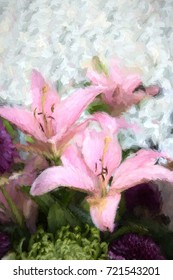 An impressionist painting created from a photo of pink, Easter Lilies on a textured white background. Vertical format, copy space