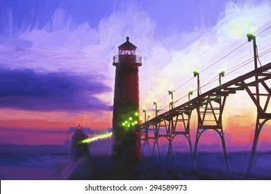 Impressionist painting of a sunset at Grand Haven Lighthouse in Grand Haven Michigan USA