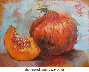 Impressionist still life with pumpkin and slice, original artwork, painting oil on canvas