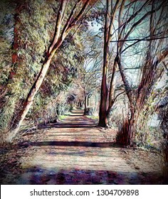 An impressionist style interpretation of a riverside path adjacent to the River Don at Sprotbrough in South Yorkshire, U.K.