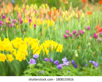 Impressionistic abstract of daffodils and tulips in a mixed flowerbed, with digital impasto effect, for themes of gardening and spring
