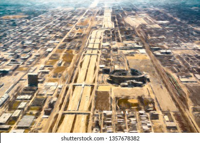 Impressionistic aerial view of south Chicago, including I-90 Expressway and stadium for professional baseball, with digital painting effect