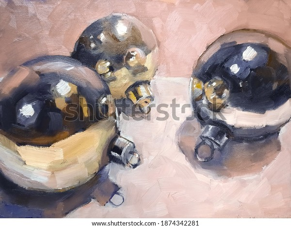 Impressionistic hand drawn oil painting of golden and silvern Christmas tree baubles lying on table. Picture on canvas