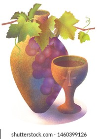 Impressionistic illustration of earthenware wine jug with grapes and communion cup or chalice with cross embossing.