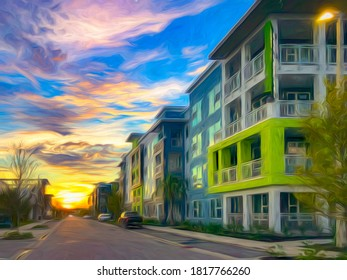 Impressionistic perspective of residential street at sunset in west central Florida, USA, with digital painting effect and canvas texture. 3D rendering.