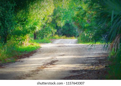 Impressionistic rendition of tropical road