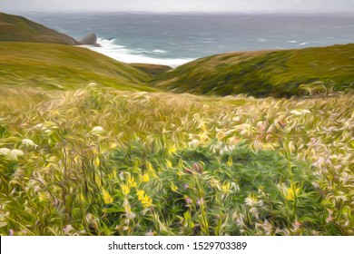Impressionistic view of Pacific Ocean and green headlands from meadow with wildflowers along Point Reyes National Seashore, California, USA, on a windy day in spring, with digital painting effect