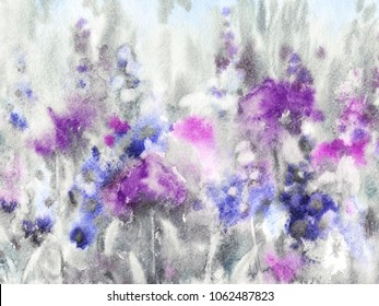 Impressionistic watercolor drawing of flowers. Blooming field in blue, pink, violet and gray tones, painted with expressive brush strokes, spots in grunge style.