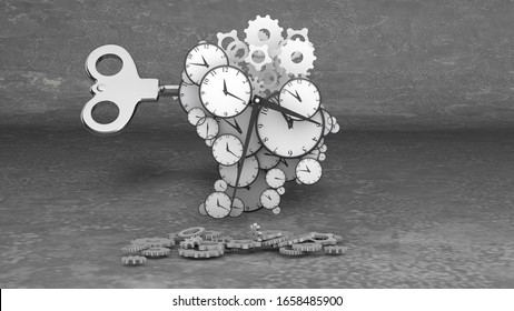 Impressive 3d illustration of blow your mind clock dials of various sizes with classic hour and minute arrows mixed with cogs in the grey backdrop.