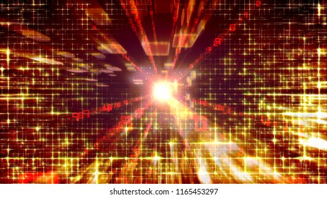 An impressive 3d illustration of a construction fragment made of golden bricks and shining rays and networks in the purple background. It looks flashy and has an optimistic effect.