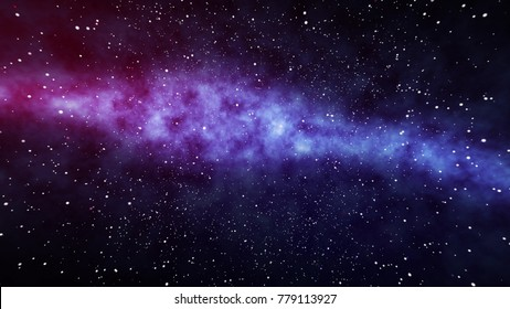 An impressive 3d illustration of a star field of the cosmos with a nebula full of stars and planets placed in the purple, blue and black background. Some megastars shine brightly like big spots.
