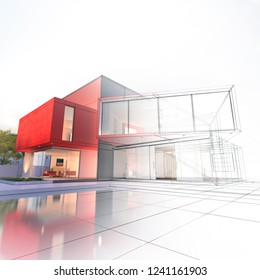 Impressive modern house with pool architecture project 3D rendering