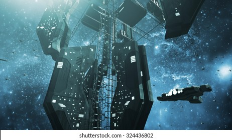 Impressive space station and a scifi spaceship. 3D rendering