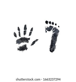 Imprint of baby feetand hand at birth. Newborn foot print.First Birthsday. Realistic. Postcard for newborn. Close up. Watercolor illustration on a white background. For cards, posters, stickers design