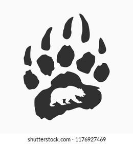 imprint of bear paw, web icon, stamp on clothes, stylish logo design, symbol of california, flat style