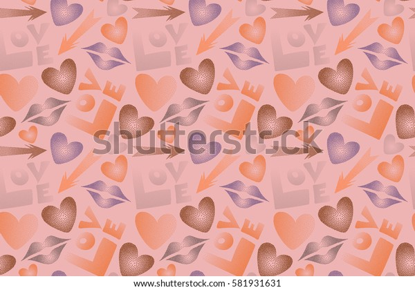 Imprint female a kiss, hearts, arrows multicolored. Hand drawn raster seamless pattern in orange and purple colors. Valentine's day theme.
