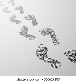 Imprint the human foot in the form of electrical circuit. Black smoke. Stock illustration.