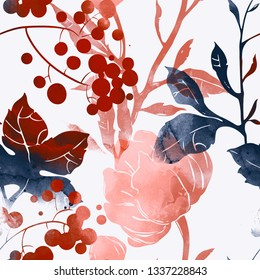 imprints abstract flowers, berries and leaves mix repeat seamless pattern. digital hand drawn picture with watercolour texture. mixed media artwork. endless motif for textile decor and botanical des