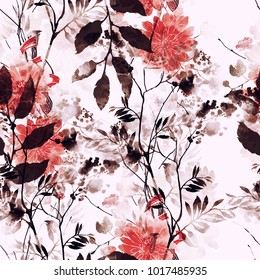 imprints abstract flowers and leaves mix repeat seamless pattern. watercolor and digital hand drawn picture. mixed media vintage artwork