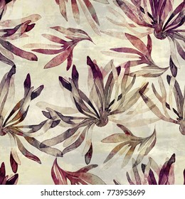 imprints abstract flowers and leaves mix sumi-e seamless pattern. abstract watercolour hand drawn picture. mixed media artwork for textiles, fabrics, souvenirs, packaging and greeting cards.