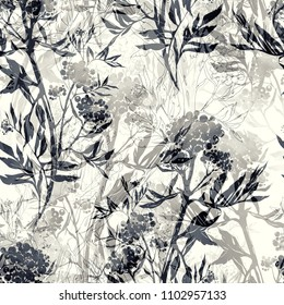 imprints abstract grass and flowers mix repeat seamless pattern. watercolour and digital hand drawn picture. mixed media artwork. endless texture for textile decor and design