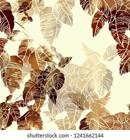 imprints abstract leaves mix repeat seamless pattern. digital hand drawn picture with watercolour texture. mixed media artwork. endless motif for textile decor and design