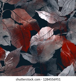 imprints abstract leaves poinsettia mix repeat seamless pattern. digital hand drawn picture with watercolour texture.  mixed media artwork. endless motif for textile decor and design
