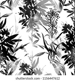 imprints abstract meadow herbs mix repeat monochrome seamless pattern. digital hand drawn picture with watercolour texture. mixed media artwork. endless motif for textile decor and design