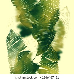 imprints abstract tropical leaves mix repeat seamless pattern. digital hand drawn picture with watercolour texture. mixed media artwork. endless motif for textile decor and design