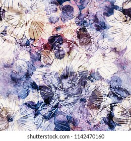 imprints abstract vintage flowers  mix repeat seamless pattern. digital hand drawn picture with watercolour texture. mixed media artwork. endless motif for textile decor and design