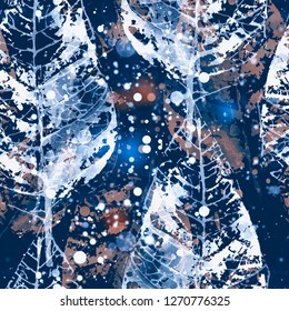 imprints abstract winter leaves mix repeat seamless pattern. digital hand drawn picture with watercolour texture. mixed media artwork. endless motif for textile decor and design