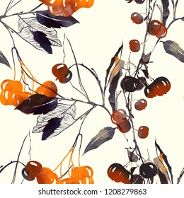 imprints autumn berries and leaves mix repeat seamless pattern. digital hand drawn picture with watercolour texture. mixed media artwork. endless motif for textile decor and design