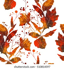 imprints autumn bouquet. hand painted seamless pattern. digital drawing and watercolor texture. background for textile decor and design. botanical wallpaper. boho chic art, mixed media. floral frame