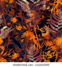 imprints autumn jungle leaves mix repeat seamless pattern. watercolour and digital hand drawn picture. mixed media artwork. endless texture for textile decor and design